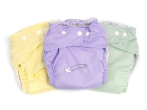 Three cloth diapers in different colours