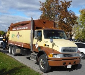 A garbage truck in Halton Region