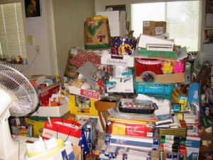 A room filled with hoarded clutter