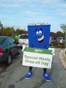 Big Blue mascot encourages residents to visit Halton's Special Waste Drop-off Day