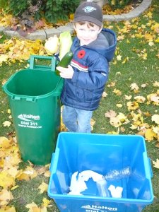 Eliot Sorts his Recyclables