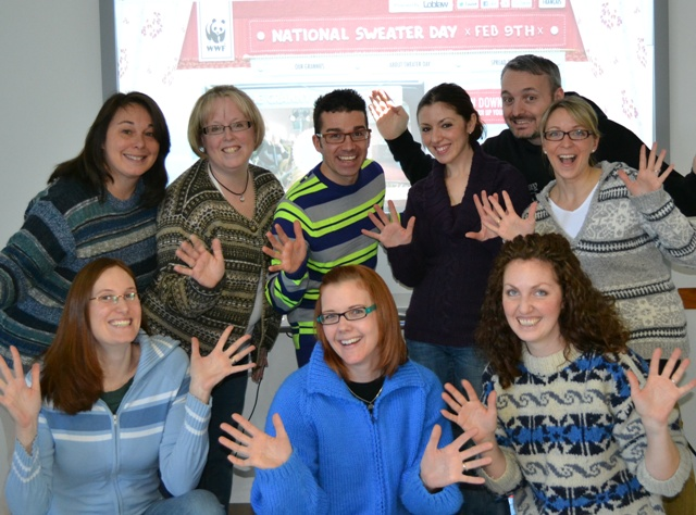 The HaltonRecycles team gets into the spirit of National Sweater Day