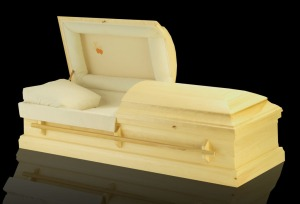 This casket uses unbleached cotton, and doesn't use any glue, metal or varnish.