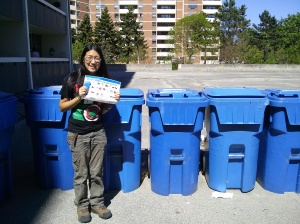 I visited apartment buildings to ensure they had necessary Blue Bins for recycling.