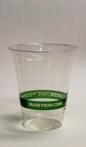 """Compostable"" plastic cups made from corn go in the garbage."