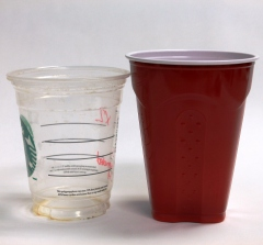 Plastic cups go in the Blue Box.
