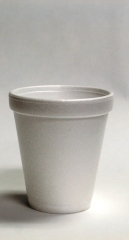 Styrofoam cups go in the garbage.