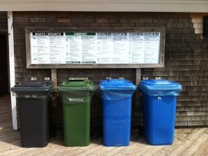 The waste sorting station at PEI National Park, Prince Edward Island.