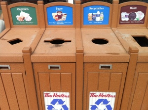 Notice the organics bin at Tim Hortons in New Brunswick.
