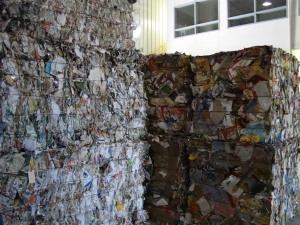 Bales of paper ready to be recycled.