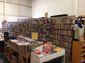 The extensive selection of books available at the Burlington Reuse Centre.