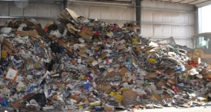 A busy recycling facility in Alberta, Canada