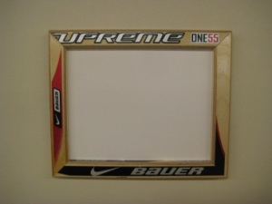 Picture frame made from wood hockey sticks
