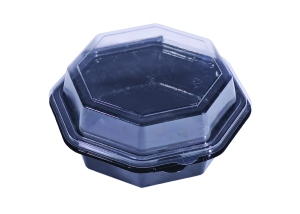 A black and clear plastic take out container can go in Halton's Blue Box program.